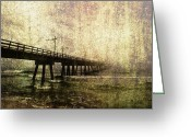 Bad Dream Greeting Cards - Early Morning Pier Greeting Card by Skip Nall