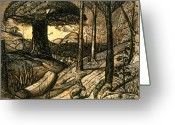 Hare Drawings Greeting Cards - Early Morning Greeting Card by Samuel Palmer