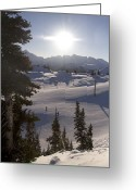 Precipitation Greeting Cards - Early Morning Skiing Greeting Card by Taylor S. Kennedy