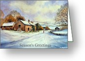 Winter Trees Reliefs Greeting Cards - Early morning snow Christmas cards Greeting Card by Andrew Read