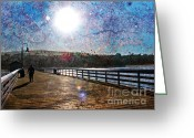 San Clemente Pier Greeting Cards - Early Morning Walk on the Pier Greeting Card by Traci Lehman