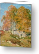 Turning Leaves Greeting Cards - Early October Greeting Card by Willard Leroy Metcalf