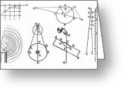 Ebb And Flow Greeting Cards - Early Physics Diagrams Greeting Card by Science Source