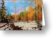 Santa Fe National Forest Greeting Cards - Early snow of Santa Fe National Forest Greeting Card by Gary Kim