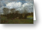 Green Field Painting Greeting Cards - Early Spring Greeting Card by Hans Thoma