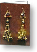 Gold Earrings Photo Greeting Cards - Earrings with garnets Greeting Card by Andonis Katanos