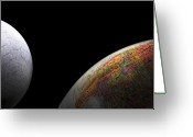 Outerspace Greeting Cards - Earth and Moon Greeting Card by Rob Byron