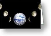 Zodiac Greeting Cards - Earth and phases of the Moon Greeting Card by Bob Orsillo