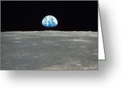 Rising From Earth Greeting Cards - Earth And The Moon Greeting Card by Stocktrek Images