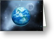 Orbit Greeting Cards - Earth Greeting Card by Corey Ford