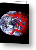 Our Planet Greeting Cards - Earth Exploding, Conceptual Image Greeting Card by Victor De Schwanberg