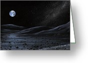 Moon Surface Greeting Cards - Earth From The Moon, Artwork Greeting Card by Richard Bizley