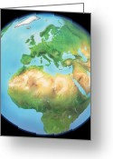 Northern Africa Greeting Cards - Earth Globe, Artwork Greeting Card by Gary Hincks