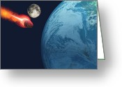 Catastrophe Greeting Cards - Earth hit by Asteroid Greeting Card by Corey Ford