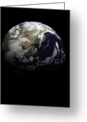 Space.planet Greeting Cards - Earth In Space Greeting Card by Chad Baker