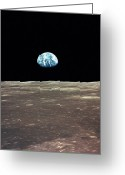 Rising From Earth Greeting Cards - Earth Rising Over The Moons Horizon Greeting Card by Stocktrek Images