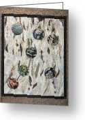 Textile Art Tapestries - Textiles Greeting Cards - Earth Textures Greeting Card by Patty Caldwell