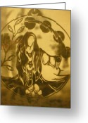Music Glass Art Greeting Cards - Earth Woman Greeting Card by Austen Brauker