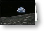 Moon Surface Greeting Cards - Earthrise Photograph, Artwork Greeting Card by Richard Bizley