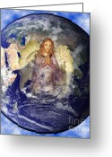 Fantasy Pyrography Greeting Cards - Earths Guardian Angel Greeting Card by The Kepharts
