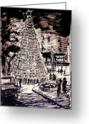 Street Lights Drawings Greeting Cards - Earthtone Christmas Tree Greeting Card by Bill Joseph  Markowski