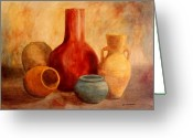 Vases Greeting Cards - Earthtone Pottery Greeting Card by Anita Carden