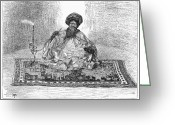 Hookah Greeting Cards - East Africa: Sultan, 1889 Greeting Card by Granger