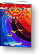 Music Glass Art Greeting Cards - East and West panel West Greeting Card by Danuta Duminica