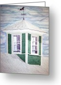 Weathervane Greeting Cards - East Boothbay Cupola Greeting Card by Daryl Shaw
