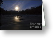 Moonrise Greeting Cards - East Branch of the Pemigewasset River - Lincoln New Hampshire  Greeting Card by Erin Paul Donovan