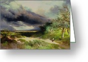Masterpiece Painting Greeting Cards - East HamptonLong Island Sand Dunes Greeting Card by Thomas Moran