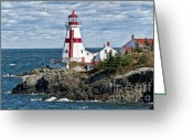 Landmarks Greeting Cards - East Quoddy Lighthouse Greeting Card by John Greim