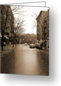 Sepia Greeting Cards - East Village In Winter Greeting Card by Utopia Concepts