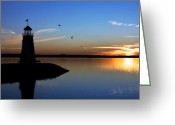 Clouds Posters Greeting Cards - East Warf Sunset Greeting Card by Lana Trussell