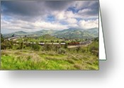 Beautiful Clouds Greeting Cards - Eastbound Train At the Tehachapi Loop Greeting Card by Connie Cooper-Edwards