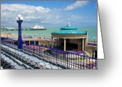 Beachy Greeting Cards - Eastbourne Art Deco Bandstand Greeting Card by Donald Davis