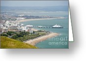 Pier Jewelry Greeting Cards - Eastbourne from Beachy Head Sussex UK Greeting Card by Donald Davis