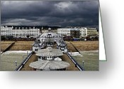 Dark Grey Greeting Cards - Eastbourne panorama Greeting Card by Heiko Koehrer-Wagner