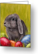 Grass Pastels Greeting Cards - Easter Bunny Greeting Card by Anastasiya Malakhova