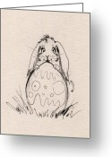 Hare Greeting Cards - Easter Bunny Greeting Card by Angel  Tarantella