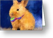 Easter Greeting Cards - Easter Bunny Greeting Card by Jai Johnson