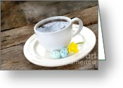 Dark Brown Eggs Greeting Cards - Easter Coffee Greeting Card by Darren Fisher