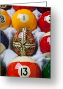 Oval Greeting Cards - Easter Egg Among Pool Balls Greeting Card by Garry Gay