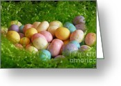 Easter Card Greeting Cards - Easter Egg Nest Greeting Card by Methune Hively