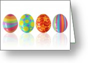 Oval Greeting Cards - Easter Eggs Greeting Card by Carlos Caetano