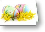 Decorated Greeting Cards - Easter eggs Greeting Card by Elena Elisseeva