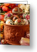 Concepts Greeting Cards - Easter eggs in flower pot Greeting Card by Garry Gay