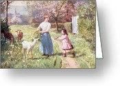 Scythe Greeting Cards - Easter Eggs in the Country Greeting Card by Victor Gabriel Gilbert