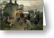 Villagers Greeting Cards - Easter Matins Greeting Card by Nikolai Pimonenko