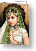 India Tapestries - Textiles Greeting Cards - Eastern Beauty in green Greeting Card by Stoyanka Ivanova